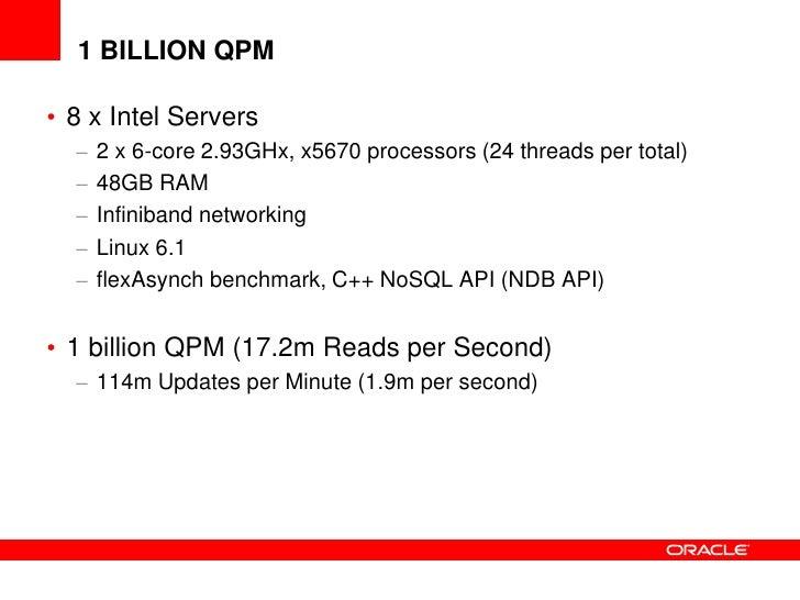 1 BILLION QPM• 8 x Intel Servers  –   2 x 6-core 2.93GHx, x5670 processors (24 threads per total)  –   48GB RAM  –   Infin...