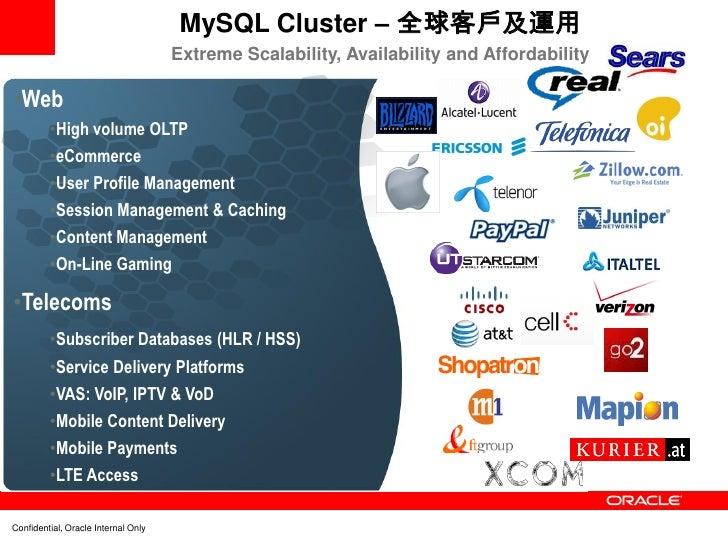 MySQL Cluster – 全球客戶及運用                                     Extreme Scalability, Availability and Affordability•Web       ...