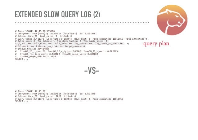 EXTENDED SLOW QUERY LOG (2) # Time: 150811 12:15:06.959000 # User@Host: root[root] @ localhost [localhost] Id: 62591948 # ...