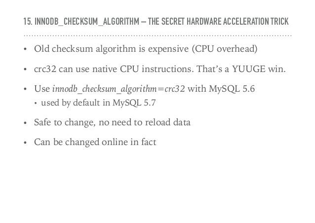 16. TABLE_OPEN_CACHE_INSTANCES – IT'S THERE FOR A REASON • Introduced in MySQL 5.6.6 to split open cache instances • Avoid...