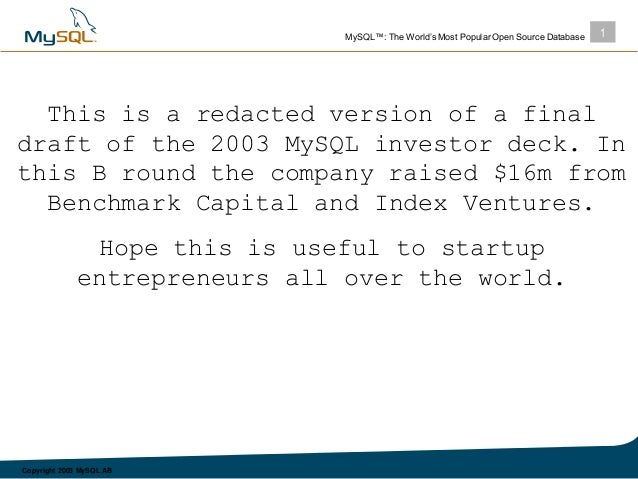 MySQL fundraising pitch deck ($16 million Series B round - 2003)