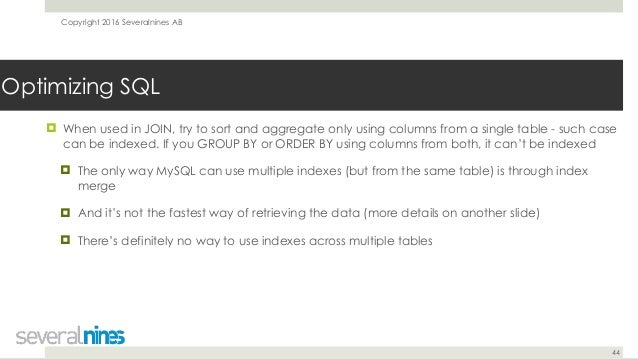 Webinar Slides Mysql Query Tuning Trilogy Working With Optimizer An