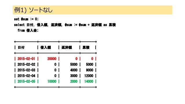 例1) ソートなし set @sum := 0; select 日付, 借入額, 返済額, @sum := @sum + 返済額 as 累積 from 借入金; +------------+-----------+-----------+---...