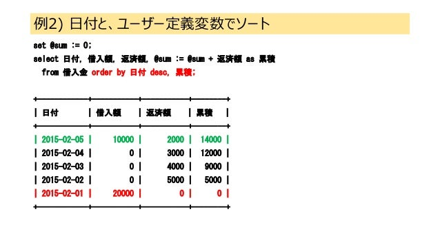 例2) 日付と、ユーザー定義変数でソート set @sum := 0; select 日付, 借入額, 返済額, @sum := @sum + 返済額 as 累積 from 借入金 order by 日付 desc, 累積; +--------...