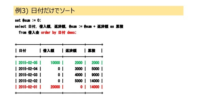 例3) 日付だけでソート set @sum := 0; select 日付, 借入額, 返済額, @sum := @sum + 返済額 as 累積 from 借入金 order by 日付 desc; +------------+-------...