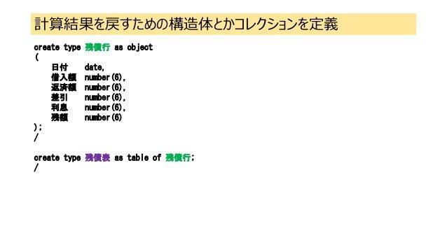 計算結果を戻すための構造体とかコレクションを定義 create type 残債行 as object ( 日付 date, 借入額 number(6), 返済額 number(6), 差引 number(6), 利息 number(6), 残額...