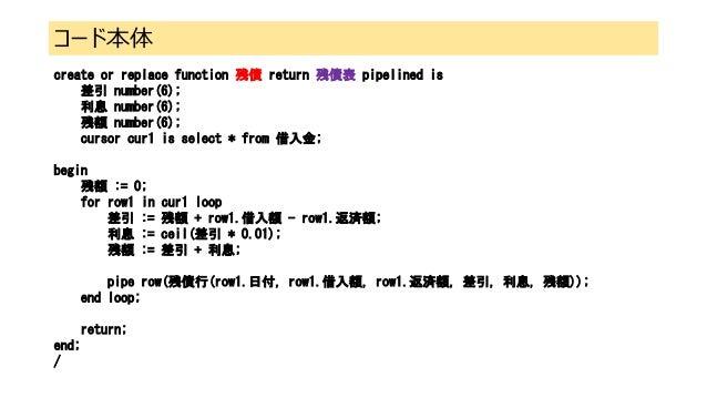 コード本体 create or replace function 残債 return 残債表 pipelined is 差引 number(6); 利息 number(6); 残額 number(6); cursor cur1 is selec...