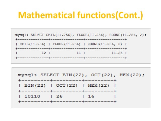 Mathematical Functions(Cont.