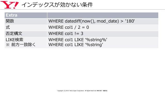 インデックスが効かない条件 Extra 関数 WHERE datediff(now(), mod_date) > '180' 式 WHERE col1 / 2 = 0 否定構文 WHERE col1 != 3 LIKE検索 ※ 前方一致除く W...