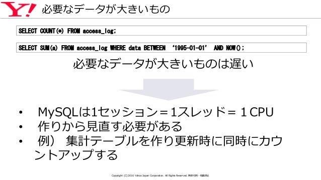 必要なデータが大きいもの SELECT COUNT(*) FROM access_log; SELECT SUM(a) FROM access_log WHERE data BETWEEN '1995-01-01' AND NOW(); 必要な...