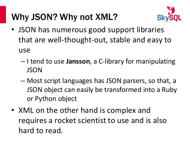 Using JSON with MariaDB and MySQL