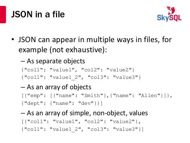 Using JSON with MariaDB and MySQL