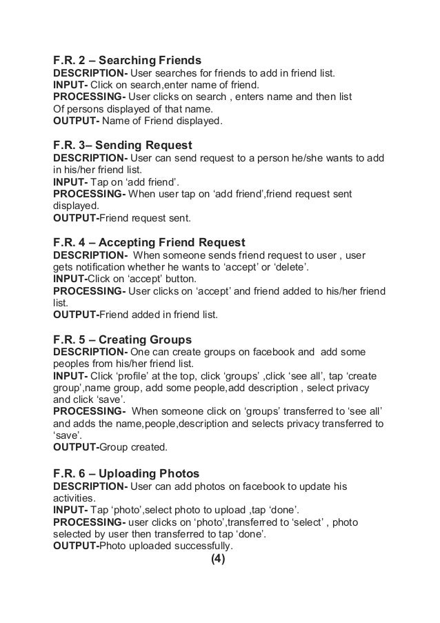 Software requirement Analysis (SRS) for FACEBOOK