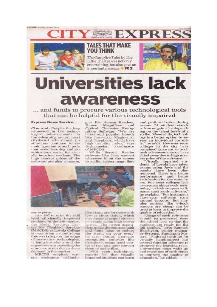 My Statements in - The New Indian Express- Universities Lack Awareness and Funds to Procure Assistive Technologies for Vis...