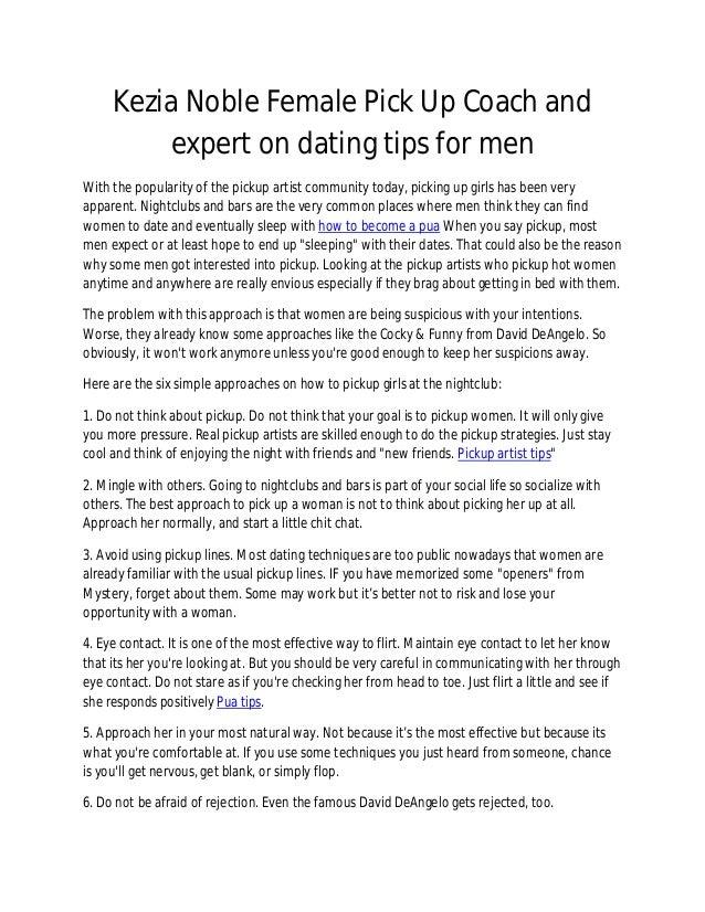 Pick up artist tips for men