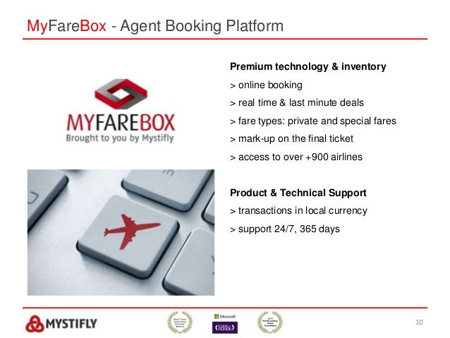 MyFareBox - Agent Booking Platform 10 Premium technology & inventory > online booking > real time & last minute deals > fa...
