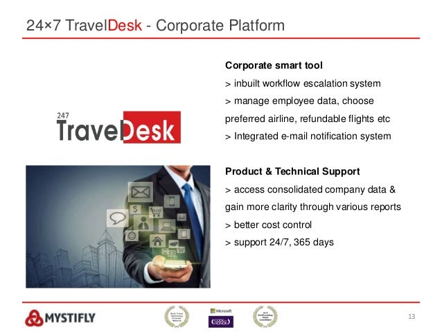 24×7 TravelDesk - Corporate Platform 13 Corporate smart tool > inbuilt workflow escalation system > manage employee data, ...