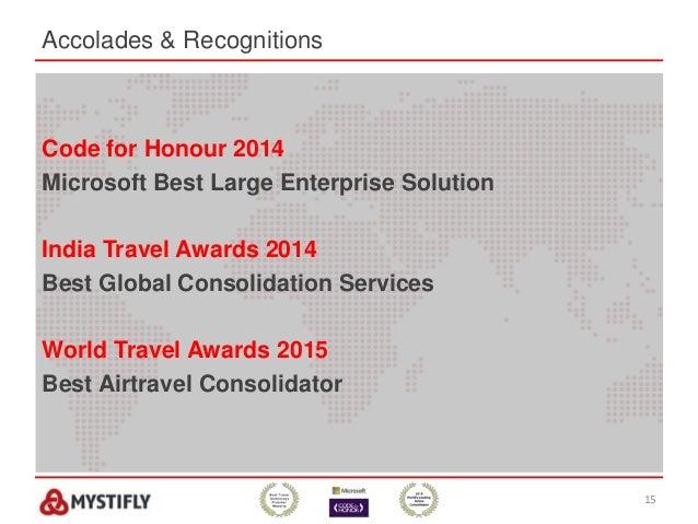 15 Code for Honour 2014 Microsoft Best Large Enterprise Solution India Travel Awards 2014 Best Global Consolidation Servic...