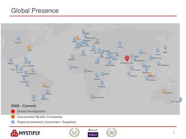 Global Presence 2 2009 - Current Global Headquarters Incorporated Mystifly Companies Regional presence (Customers / Suppli...