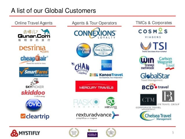 A list of our Global Customers 5 Online Travel Agents Agents & Tour Operators TMCs & Corporates