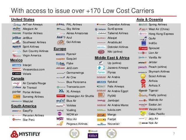 With access to issue over +170 Low Cost Carriers 7 United States AirTran Airways Allegiant Air Frontier Airlines JetBlue S...