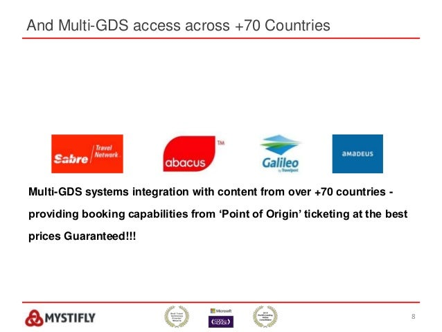 And Multi-GDS access across +70 Countries 8 Multi-GDS systems integration with content from over +70 countries - providing...