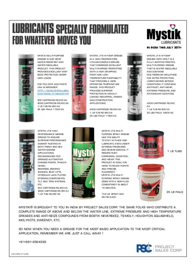 Mystik Lubricants Now In India