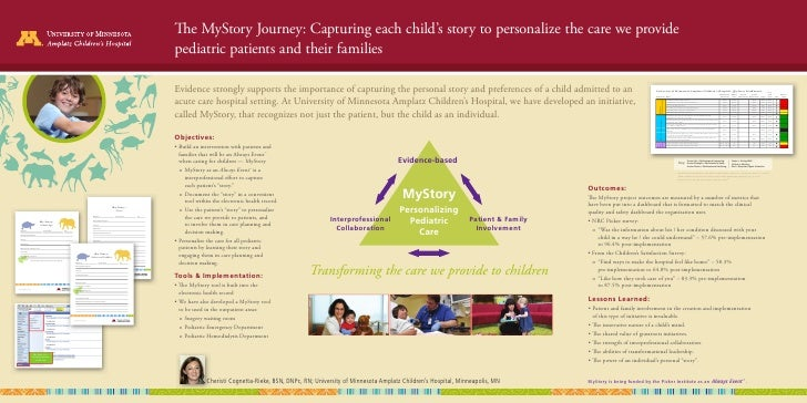 The MyStory Journey: Capturing each child's story to personalize the care we provide                                      ...