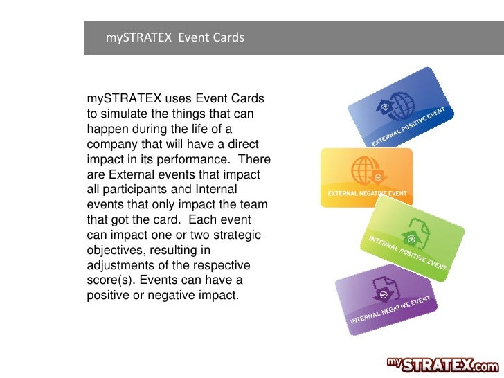 mySTRATEX Event CardsmySTRATEX uses Event Cardsto simulate the things that canhappen during the life of acompany that will...