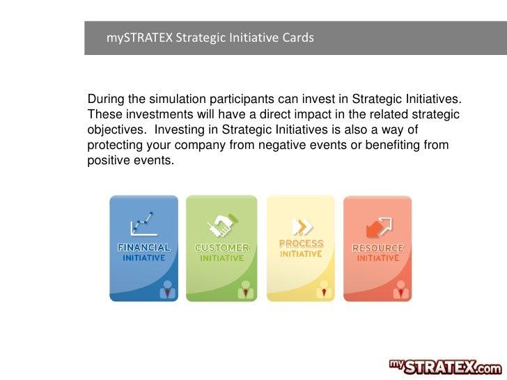 mySTRATEX Strategic Initiative CardsDuring the simulation participants can invest in Strategic Initiatives.These investmen...