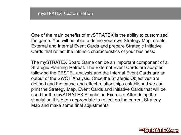 mySTRATEX CustomizationOne of the main benefits of mySTRATEX is the ability to customizedthe game. You will be able to def...
