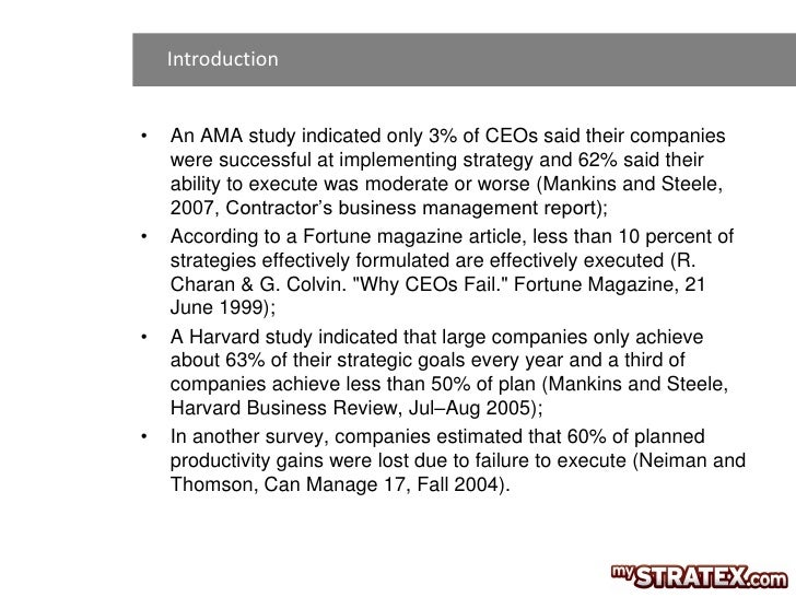 Introduction•   An AMA study indicated only 3% of CEOs said their companies    were successful at implementing strategy an...