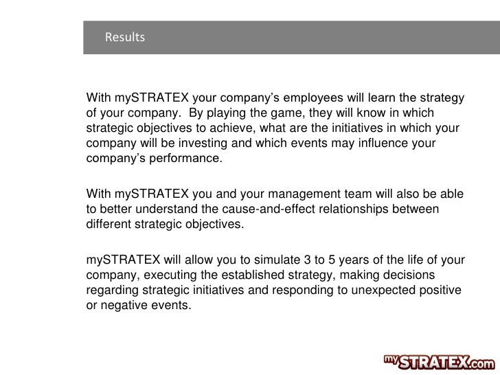 ResultsWith mySTRATEX your company's employees will learn the strategyof your company. By playing the game, they will know...