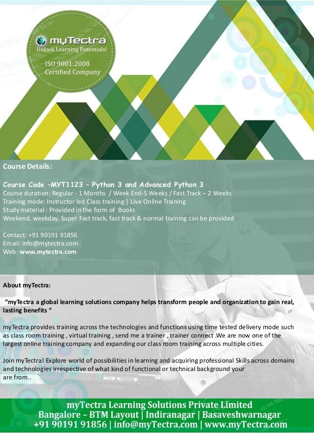 Python Scripting Training in Bangalore by myTectra