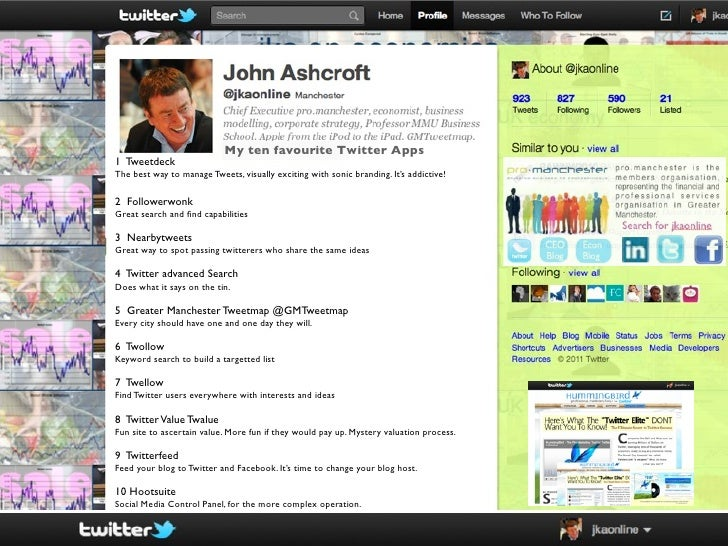 My ten favourite Twitter Apps1 TweetdeckThe best way to manage Tweets, visually exciting with sonic branding. It's addicti...