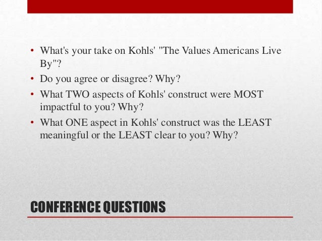 the values americans live by robert kohls
