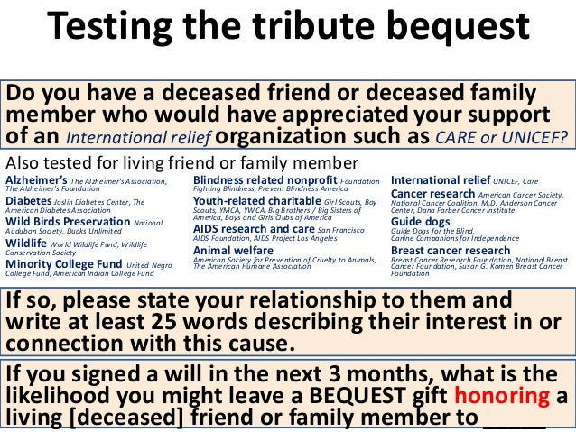 """Connection reminder + tribute  bequest offer can be """"stacked""""  with other bequest messages  Change in charitable bequest i..."""