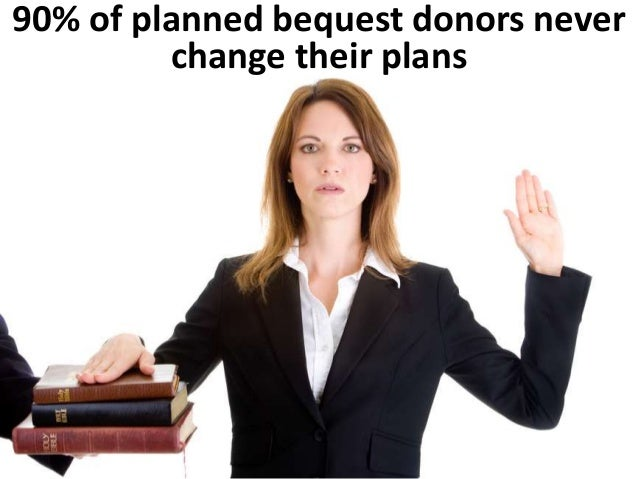The NCPG (2000) study showed  that 90% of planned bequest  donors don't change their plans  Fiction  Among those (avg. age...