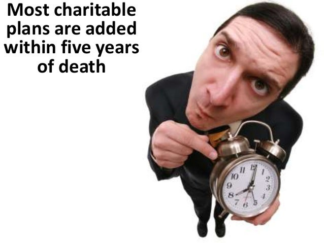 Most realized charitable plans added  within 5 years (shown in red) of death  Total Number Total $