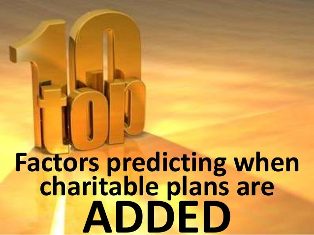 Factors predicting when  charitable plans are  DROPPED