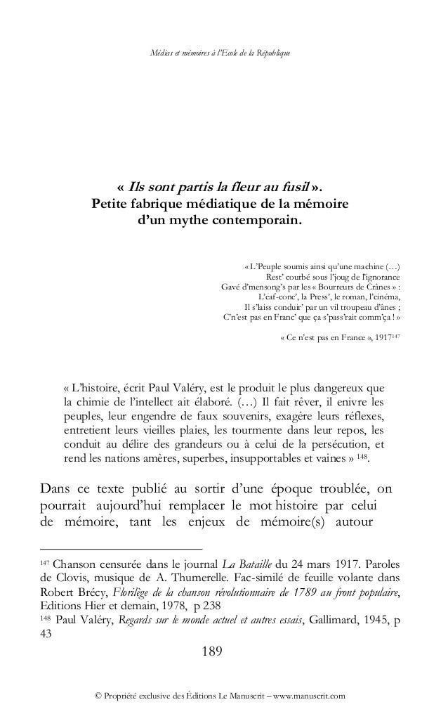 Médias et mémoires à l'Ecole de la République © Propriété exclusive des Éditions Le Manuscrit – www.manuscrit.com « Ils so...