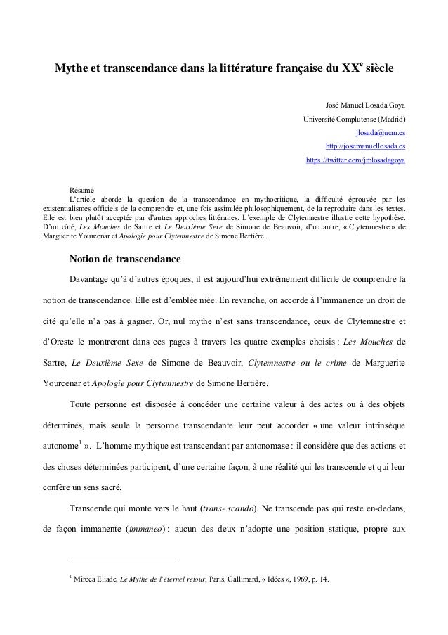 Mythe et transcendance dans la littérature française du XXe siècle José Manuel Losada Goya Université Complutense (Madrid)...