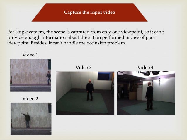 Capture the input video  For single camera, the scene is captured from only one viewpoint, so it can't provide enough info...