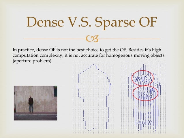 Dense V.S. Sparse OF  In practice, dense OF is not the best choice to get the OF. Besides it's high computation complexit...