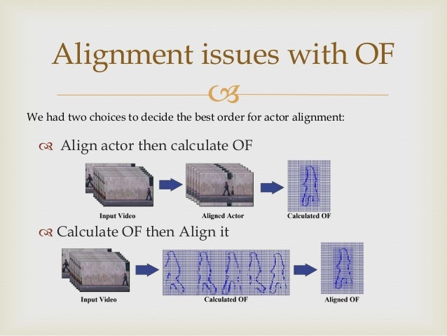 Alignment issues with OF   We had two choices to decide the best order for actor alignment:   Align actor then calculate...