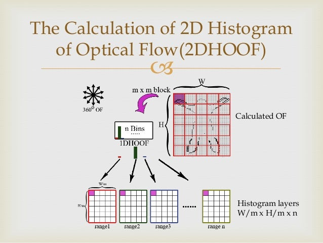 The Calculation of 2D Histogram of Optical Flow(2DHOOF)    Calculated OF  Histogram layers W/m x H/m x n