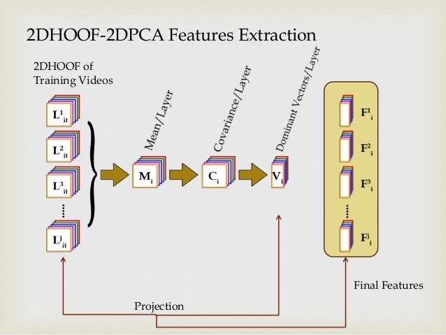 2DHOOF-2DPCA Features Extraction 2DHOOF of Training Videos  Final Features Projection