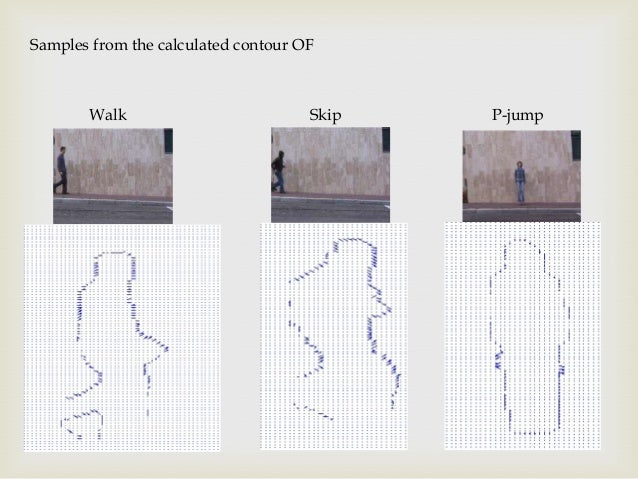 Samples from the calculated contour OF  Walk  Skip  P-jump