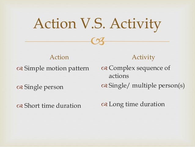 Action V.S. Activity  Action  Activity   Single person   Complex sequence of actions  Single/ multiple person(s)   Sh...
