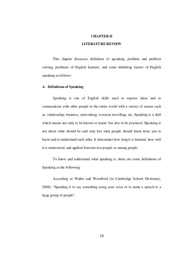 Literature review of speaking english